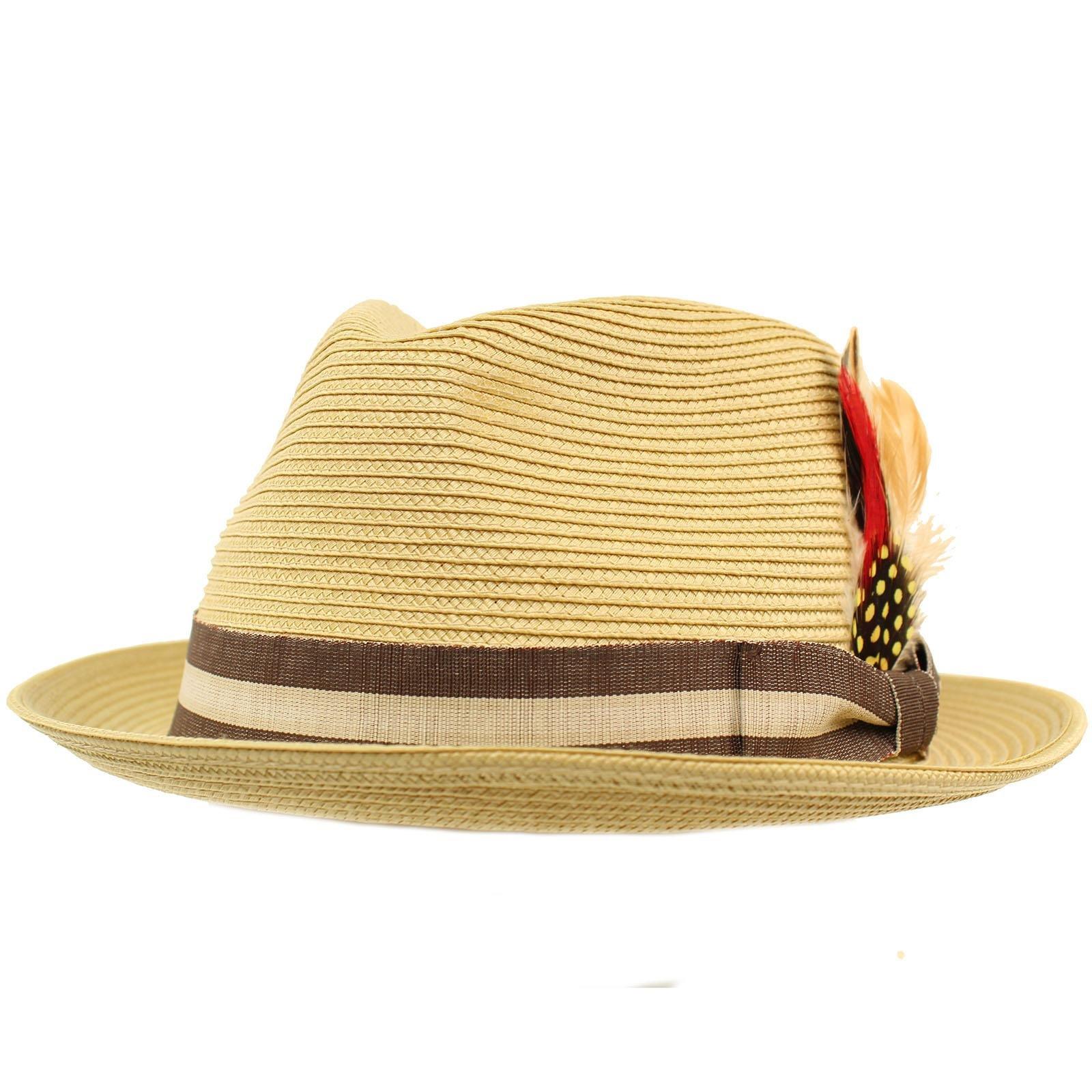 SK Hat shop Men's Stripe Band Removable Feather Derby Fedora Curled Brim Hat L/XL