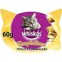 Whiskas Temptations Premios para Gatos Sabor Pollo y Queso - Paquete de 8 x 60 gr