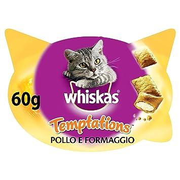 Whiskas Temptations Premios para Gatos Sabor Pollo y Queso - Paquete de 8 x 60 gr - Total: 480 gr: Amazon.es: Productos para mascotas