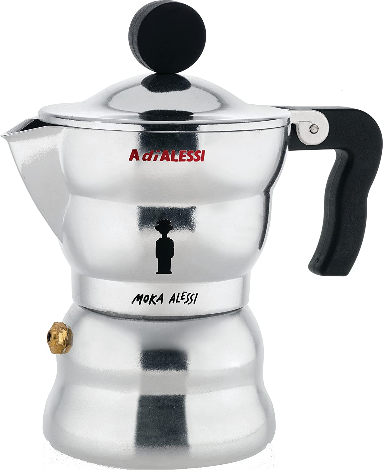 Alessi AAM33/1Moka Stove Top Espresso Coffee Maker in Aluminium Casting Handle And Knob in Thermoplastic Resin, Black