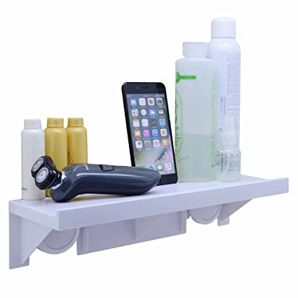 OKOMATCH Bathroom Shelf Without Drill U0026 Nail,Easy Installing Super Suction  Cup Wall Mounted Sturdy