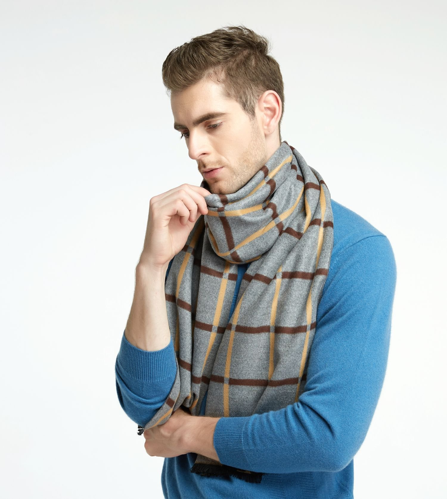 CHTIE Brushed Warm Soft Cashmere Feel Men\'s Scarf Winter (Beige Square)