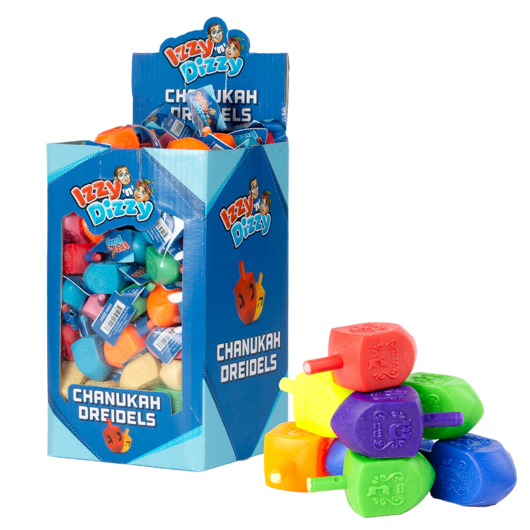 100 Medium Dreidels - Assorted Colors - Classic Chanukah Spinning Draidel Game, Gift and Prize - Bulk Value Pack - by Izzy n Dizzy