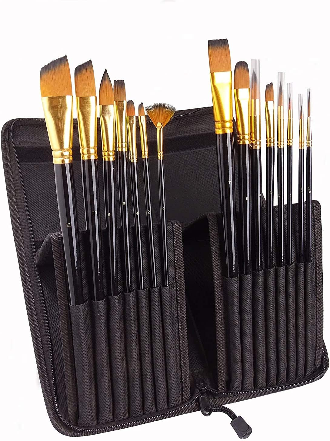 Professional Painting Brushes with Holder Creative Body Paint Oil and Acrylic 15 Pieces Paint Brush Set Artist WoYu Nylon Hair Brush for Watercolour Decorating and Gouache Painting