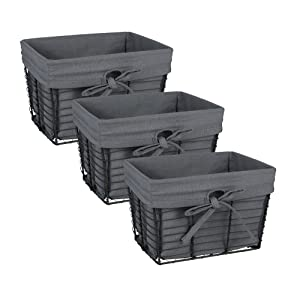 DII Home Traditions Vintage Metal Chicken Storage Basket with Removable Liner, Set of 3 Small Sized, Fabric with Grey Wire, Gray