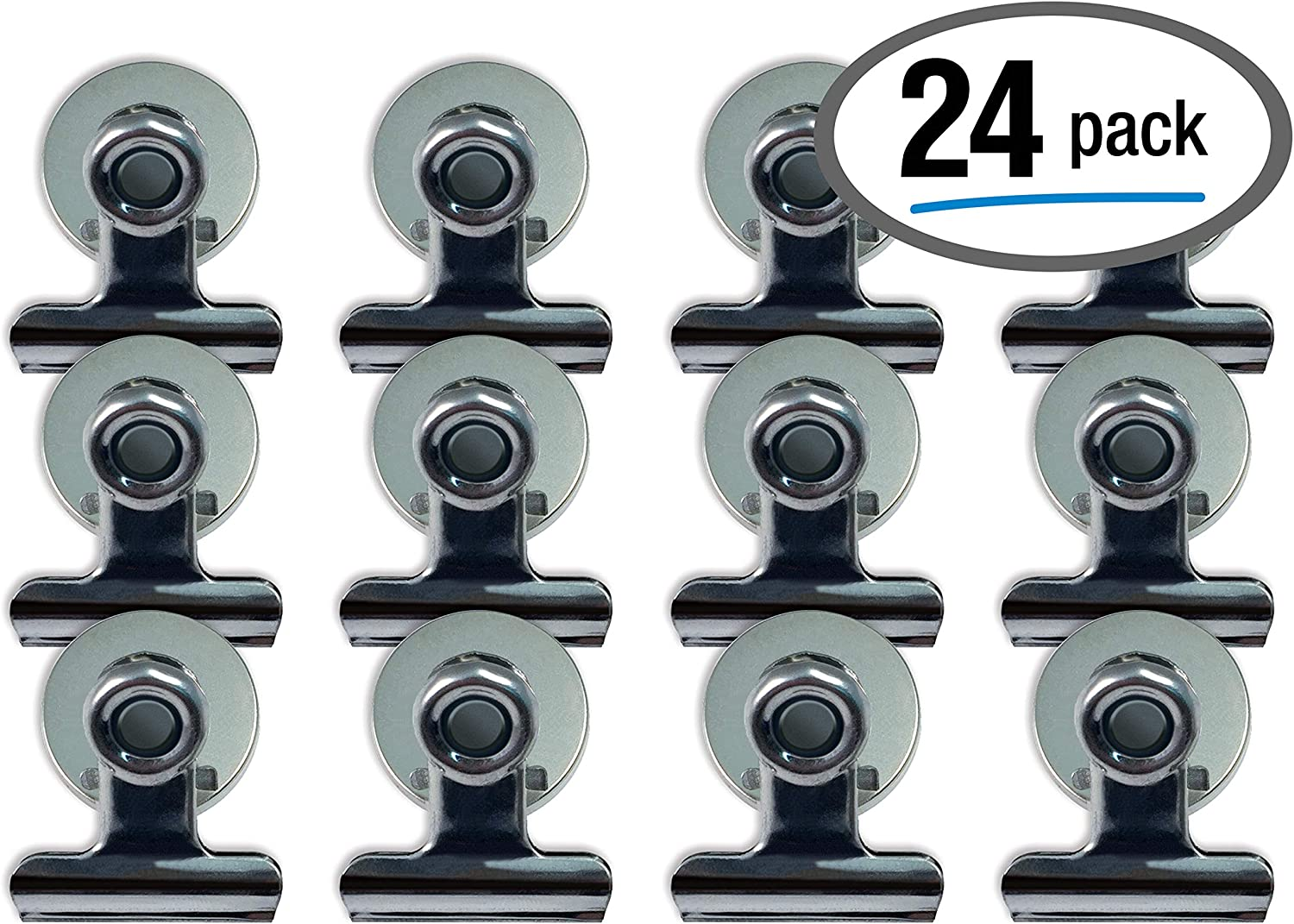 Magnetic Bulldog Clips, 24 Pack, by Better Office Products, Stainless Steel, 1.2 Inch, Bulldog-Style with Magnets, 24 Pieces