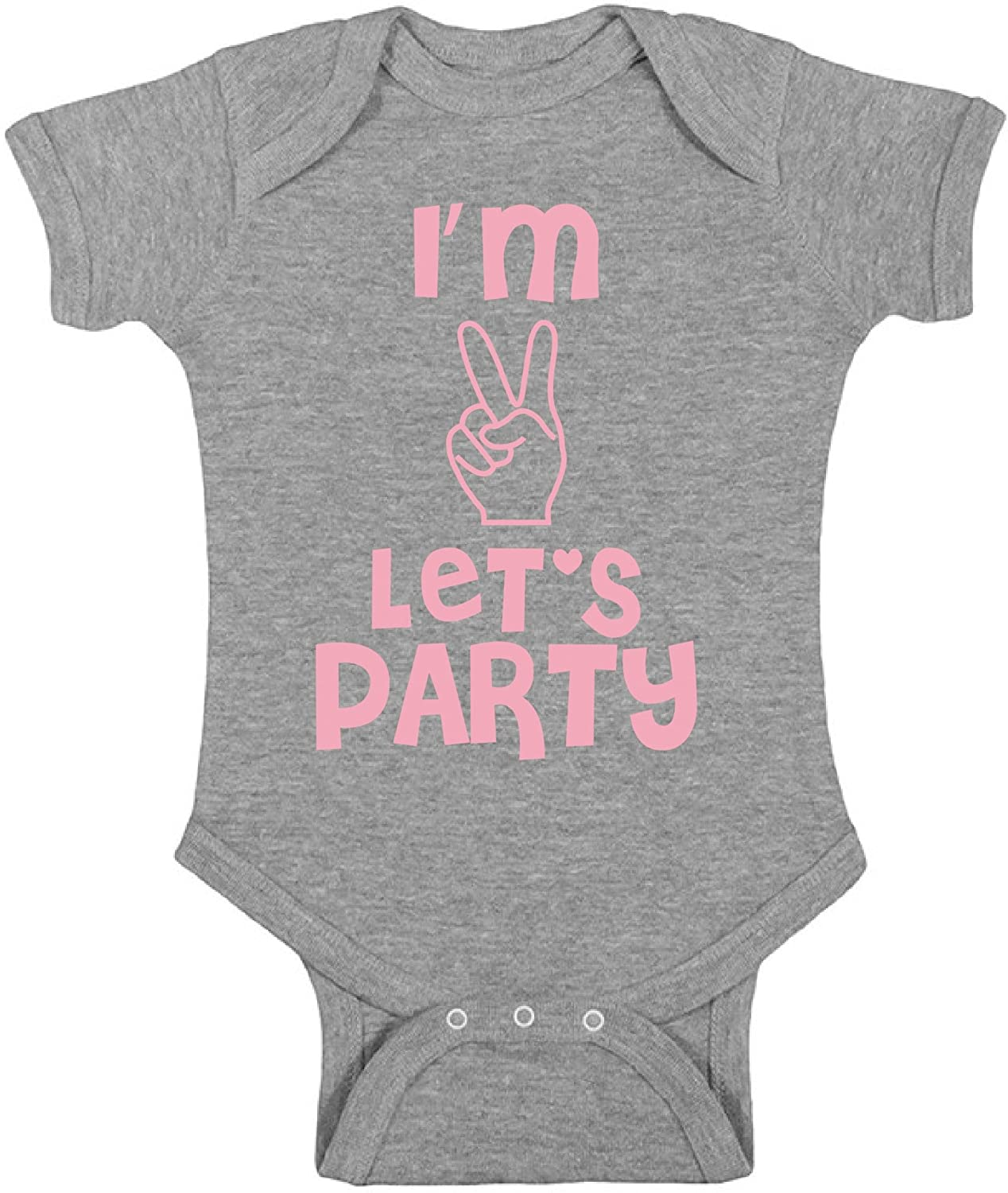 Awkward Styles Baby Im Two Lets Party Boy Girl Short Sleeve Bodysuits Tops Birthday Party of Two Year Old