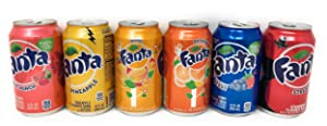 Fanta Six Flavor Variety Bundle of 6 Cans: One Each of Pineapple, Orange, Strawberry, Fruit Punch, Berry, and Mango Soda