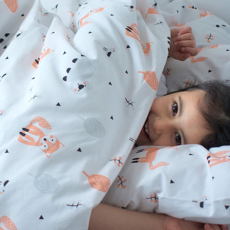 Littlefeifei Parure de lit de luxe 100 /% coton biologique pour enfant Motif renard et ours 120 x 150 cm