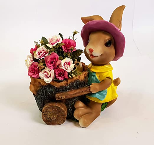 Wonderland rabbit with planter garden pots and planters , decorative planter , kids room decor , home decor , home decoration, garden decor , garden decoration, balcony decor , planter , resin planter , wonderland , table top planter , desk planter , gift , gifting , return gift