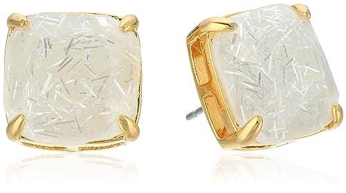 kate spade new york Small Square Studs White Glitter Stud Earrings