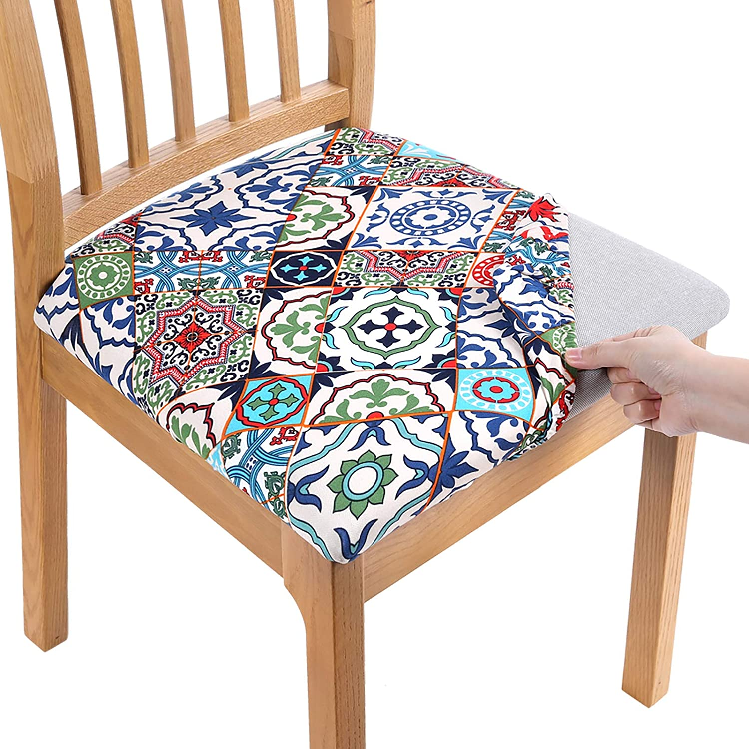 smiry Printed Dining Chair Seat Covers - Stretchy Removable Washable Upholstered Chair Seat Slipcover Protector (Set of 2, Colorful Vintage)