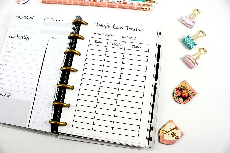 Mini Happy Planner Weight Loss Tracker Pre-punched Happy Planner Inserts Pre-punched Fitness Planner Mini Happy Planner Weight Loss Tracker