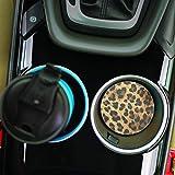 Animal Leopard Print 2 Piece Ceramic Car Coaster Set