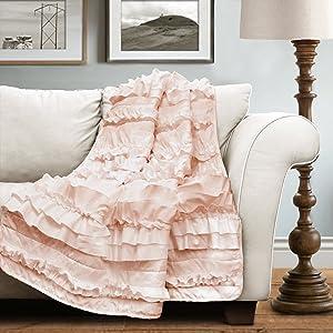 """Lush Decor Lush Décor Belle Throw, 60 inch x 50 inch, Pink Blush, 60"""" X 50"""","""