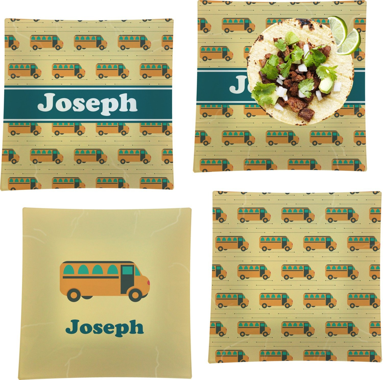 School Bus Set of 4 Glass Square Lunch/Dinner Plate 9.5'' (Personalized)
