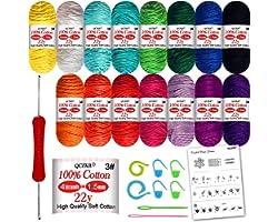 Crochet Yarn kit, 15 pcs Cotton Yarn Skeins for Crochet and Knitting with 9 Crochet Hook Set – Ideal Beginner Kit