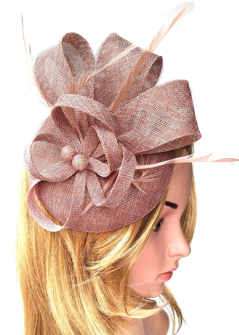 Biruil Women's Fascinator Hat Imitation Sinamay Feather Tea Party Pillbox Flower Derby (Champagne)