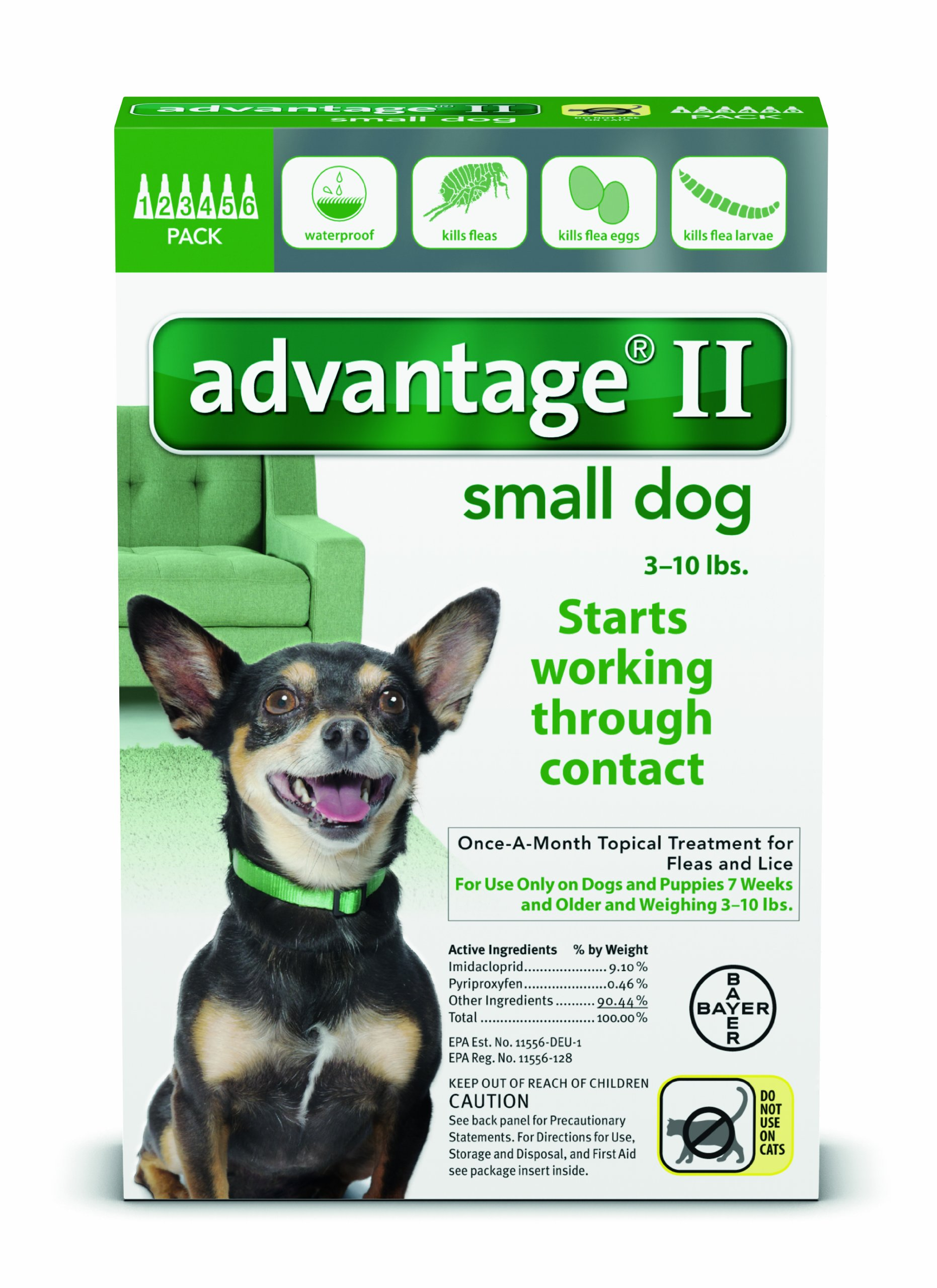 Bayer Animal Health Advantage II for Dogs 10 lbs and Under - 6 pack by Bayer Animal Health