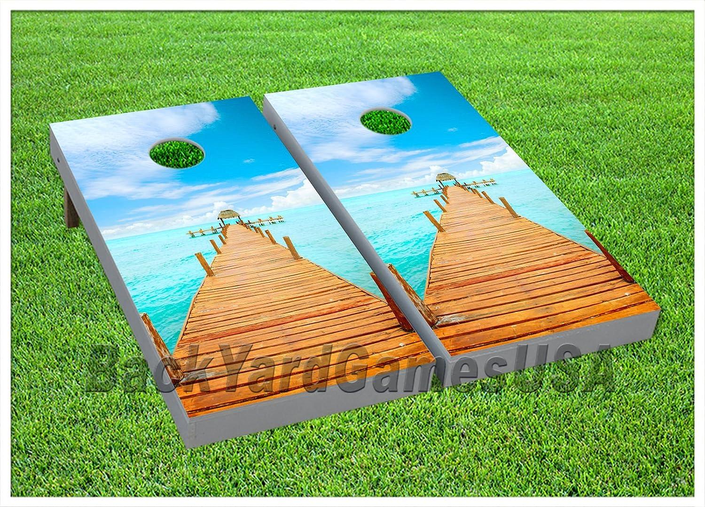 Cornhole Beanbag Toss Game WバッグゲームボードBoardwalkオーシャンビーチセット750   B07534M2JH
