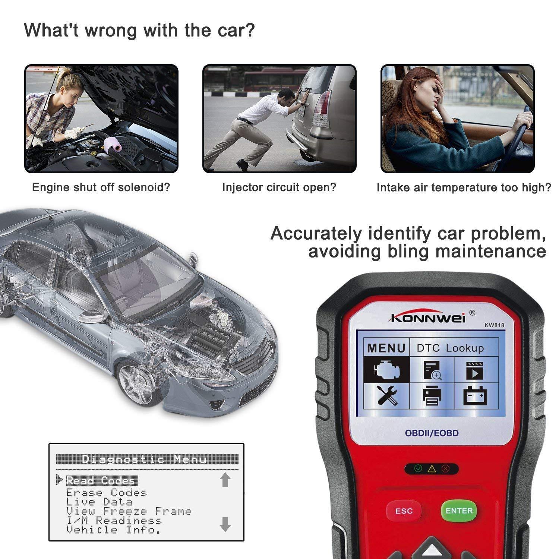 KONNWEI OBD2 Scanner Professional Car OBD II Scanner Auto Diagnostic Fault Code Reader Automotive Check Engine Light Diagnostic O2 Sensor EOBD Scan Tool for All OBDII Protocol Cars Since 1996 (KW818) by KONNWEI (Image #4)