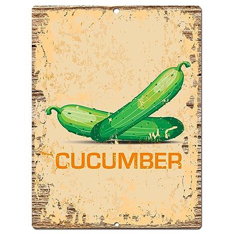 Amazon.com: CUCUMBER Sign Rustic Vintage Retro Kitchen Bar Pub ...