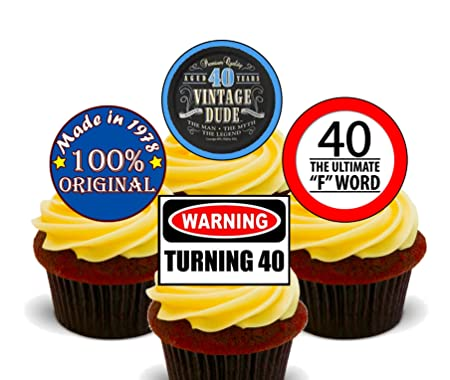 40th Birthday Male Funny Mix Edible Cupcake Toppers Standup