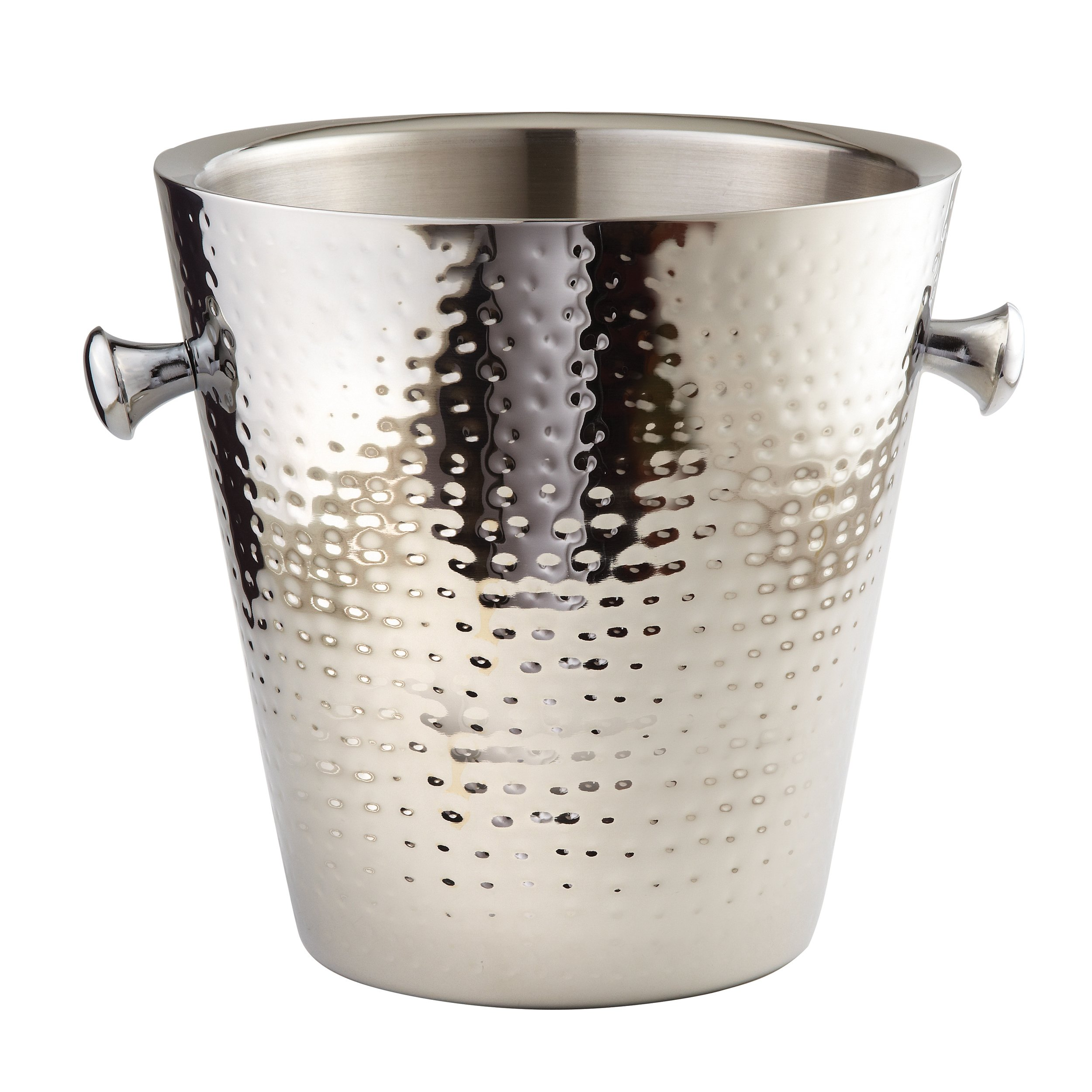 Elegance Hammered Stainless Steel Doublewall Champagne Bucket, 9'', Silver