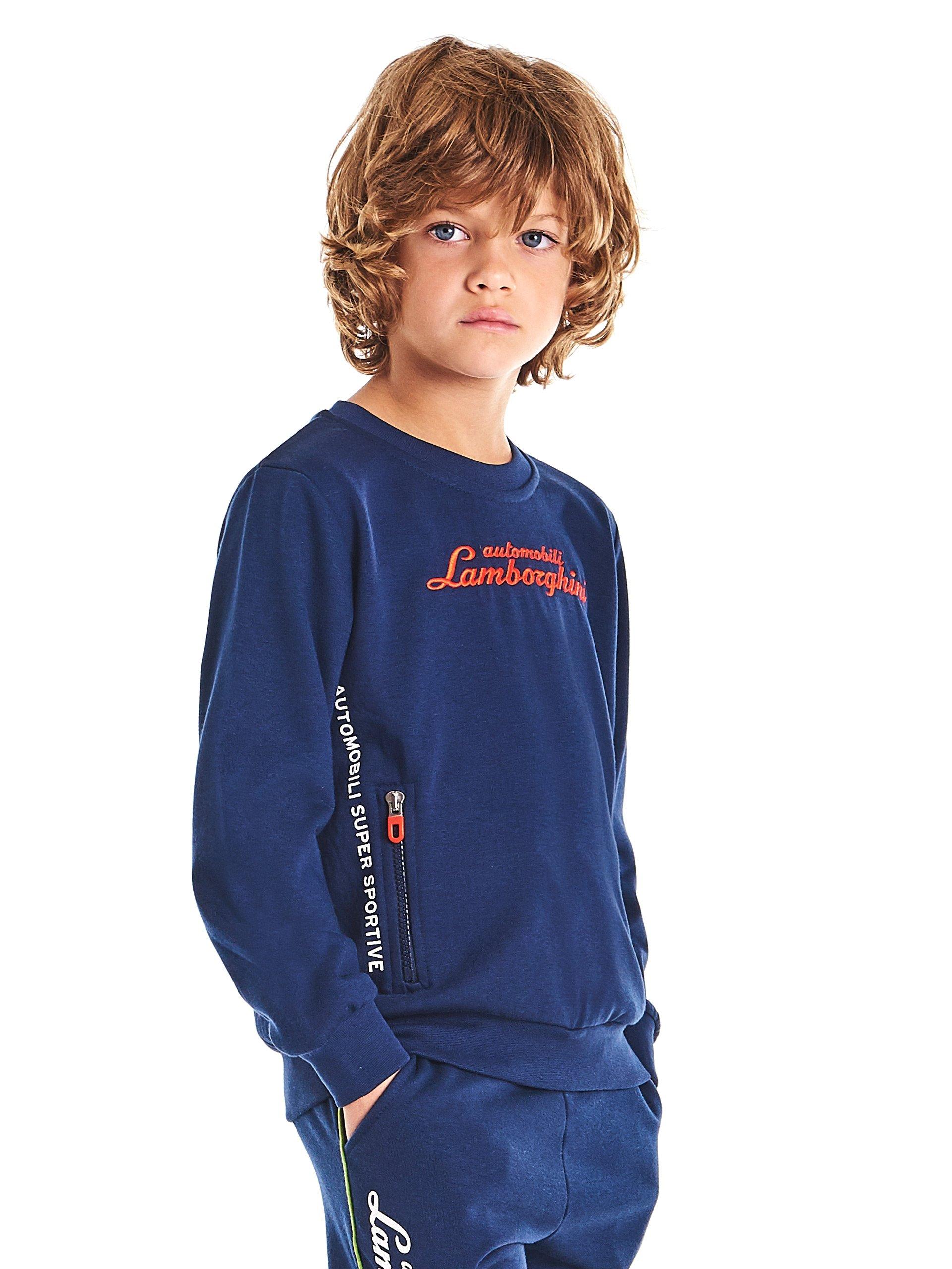 Automobili Lamborghini Children Lamborghini Kids Logoscript Sweatshirt 8 Years Blue