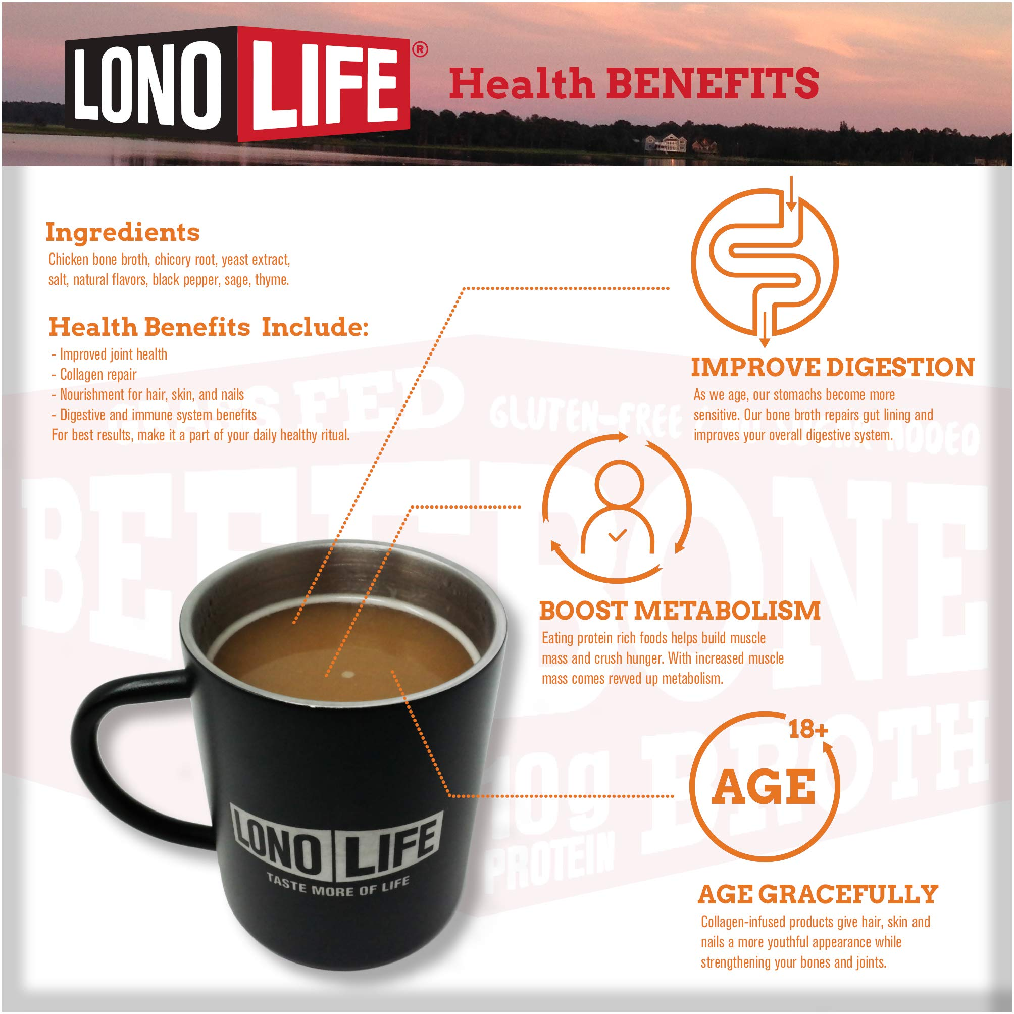 LonoLife Chicken Bone Broth Powder with 10g Protein, Stick Packs, 10 Count by LonoLife (Image #3)