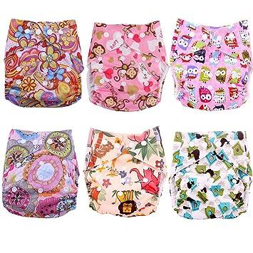 6 pieza Bebé Niña Plástico pañales pañal pañales Pantalón cubrepañales – Tamaño ajustable con botón de