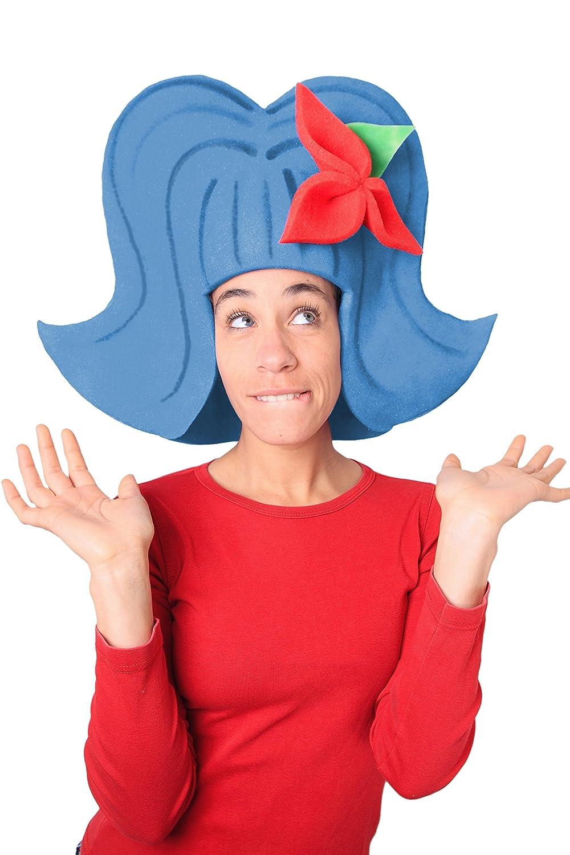 Sombrero de gomaespuma azul con flor roja