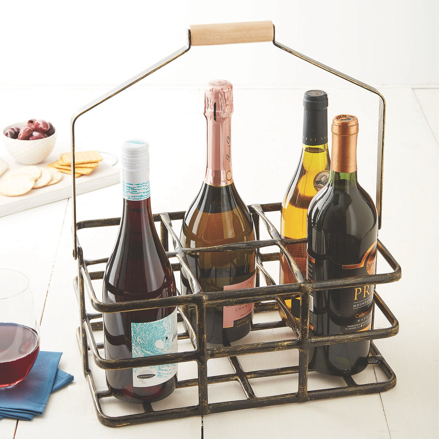 Professional 6 Bottle Wine Caddy for All Size & Shape Bottles. Sturdy Black Rubber Coated Frame Protects Bottles. Real Natural Wood Handle Folds for Compact Storage. Rugged and Long Lasting by Wine Enthusiast
