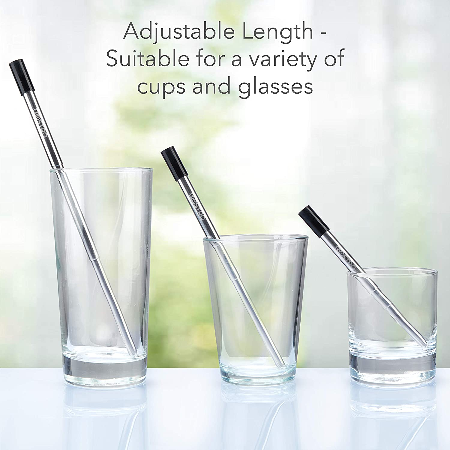 Eco-Friendly Alternative to Plastic Straws Portable and Reusable Collapsible Drinking Straws with Carrying Case and Keychain Hook Cleaning Brush Included Telescopic Stainless Steel Straw