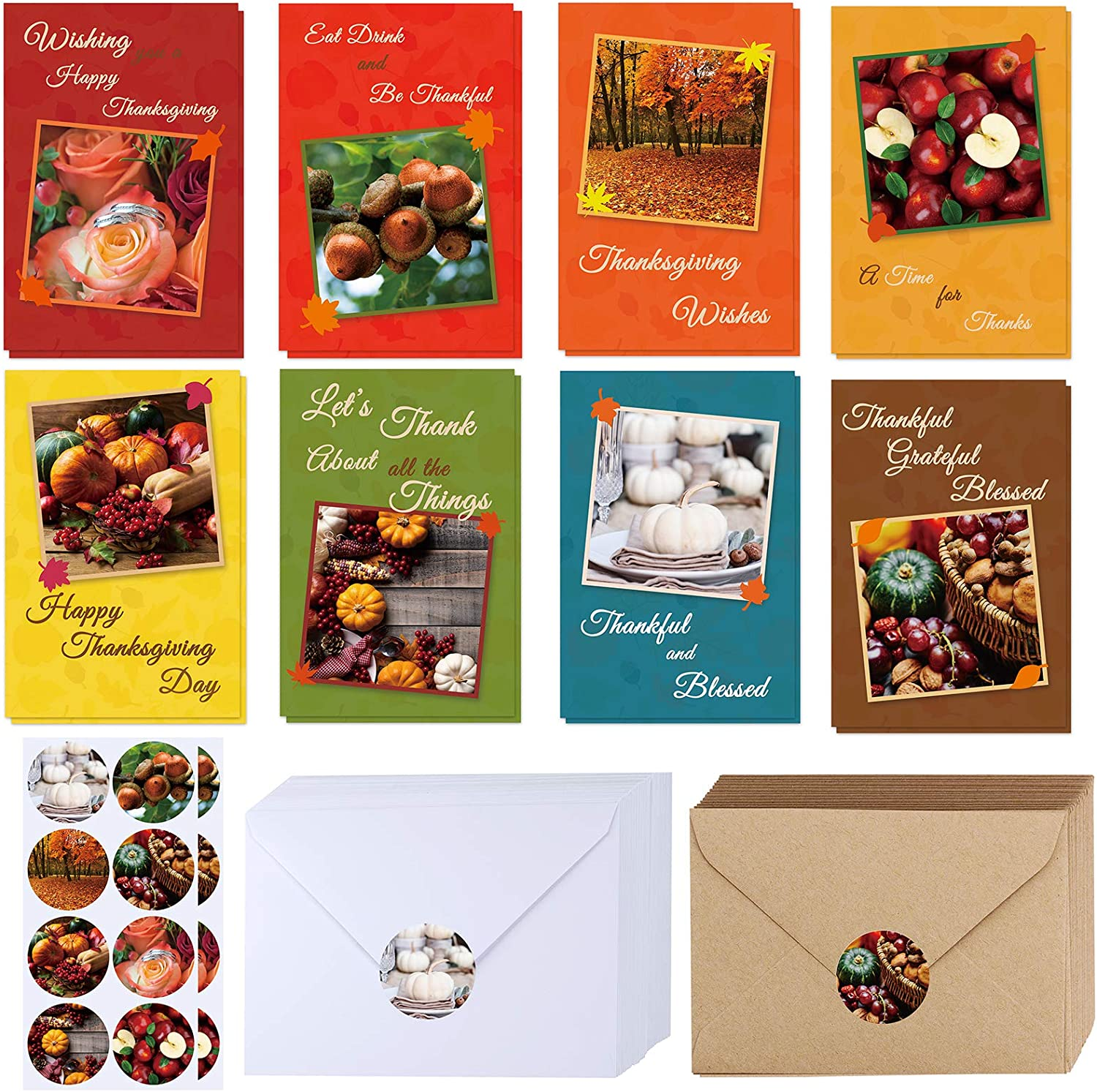 120 Sets Bulk Blank Thanksgiving Cards with Envelopes Stickers Assortment 8 Design of Fall Pumpkin Leaf Photos Thank You Greeting Cards Note Cards for Fall Wedding Shower Thanksgiving Harvest Party