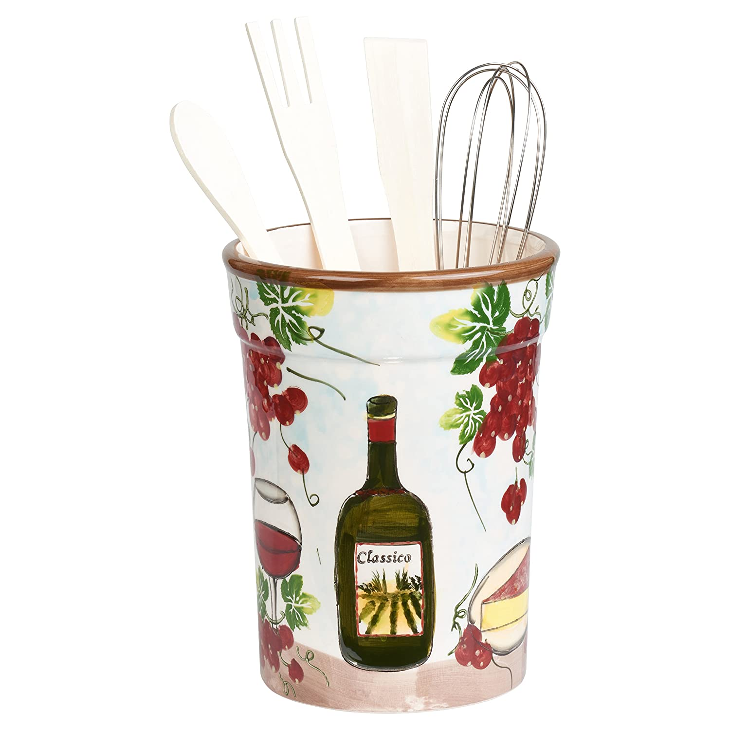 Lorren Home Trends P2064 Utensil Holder Grape Ceramic, Purple