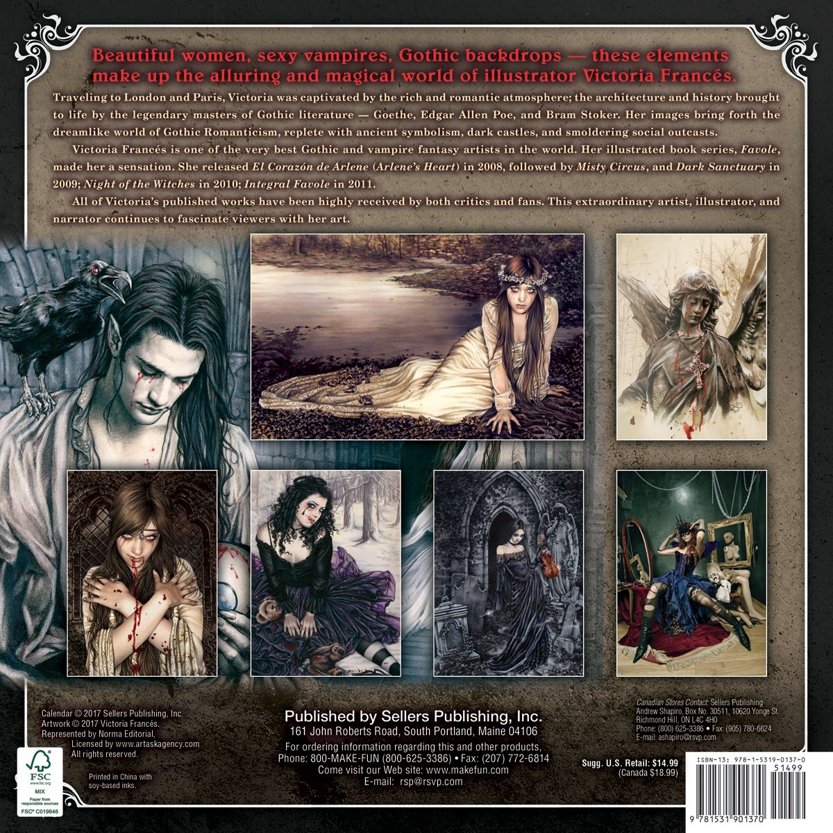 the gothic art of victoria frances 2018 wall calendar ca0137 victoria frances 9781531901370 amazoncom books