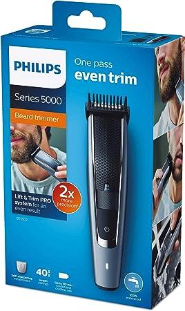 Philips BT55 Recortadora de Barba y Pelo con 40 Posiciones de Longitud, Resistente al Agua y Cuchillas metálicas autoafilables, Negro