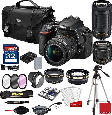 Nikon D5600 - Cámara réflex Digital con Lentes de Zoom AF-P de 18-55 mm y 70-300 mm + Estuche para cámara Nikon DSLR + Paquete de Memoria de 32 GB (25 Unidades): Amazon.es: Electrónica