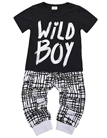 7cea3054c Amazon.com: Newborn Baby Boys Clothes Wild Boy Letter Print T-Shirt Tops  and Pants Outfits 2PCS Outfits Set: Clothing