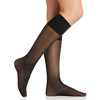 Berkshire Women's Plus-Size Queen Comfy Cuff Plus Sheer Graduated Compression Trouser Socks, Black, Queen Size at Women's Clothing store