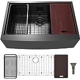 Doirteal 33 inch Black Farmhouse Sink Apron Front Kitchen Sink Workstation Stainless Steel Gunmetal Black Undermount 16 Gauge