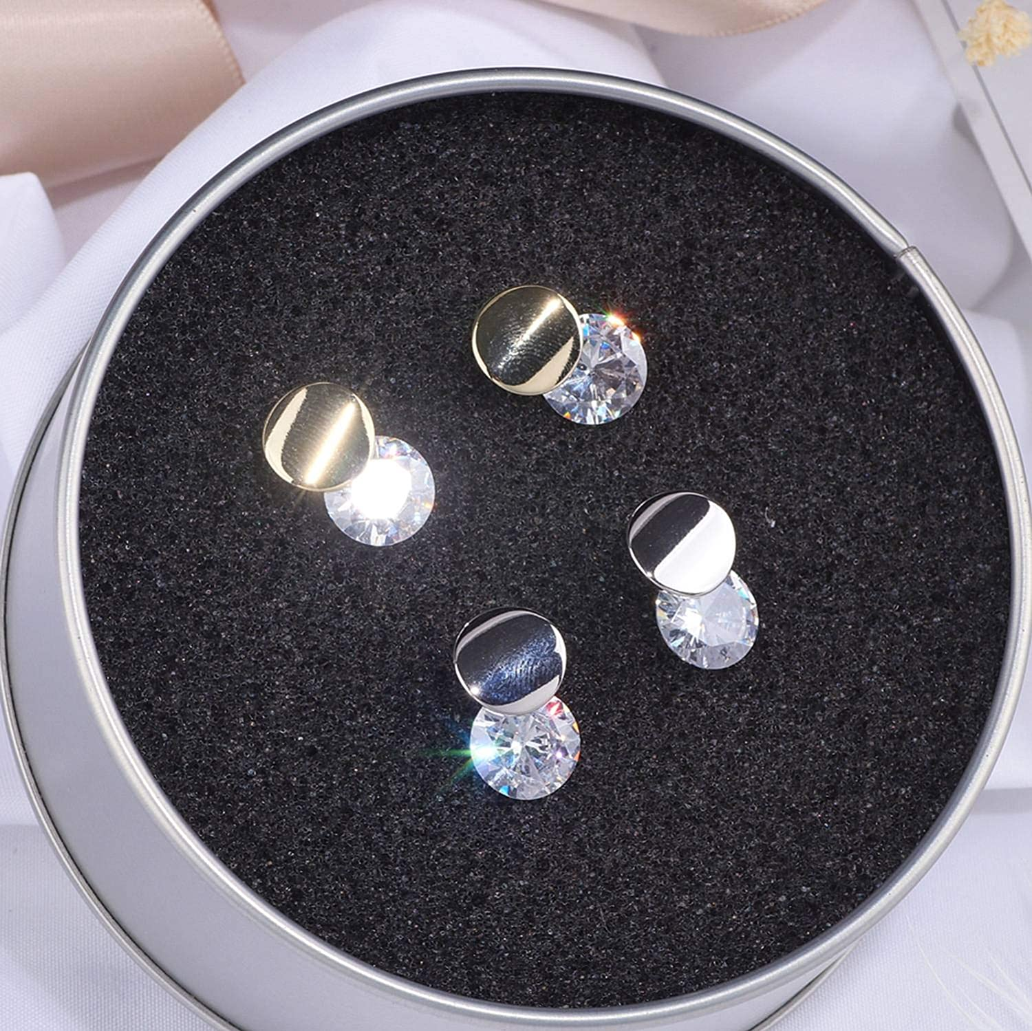 Classic Crystal Round Stud Earrings for Women Girls Gold Silver Color Simple Elegant Zircon Earrings For Wedding Jewelry WX150