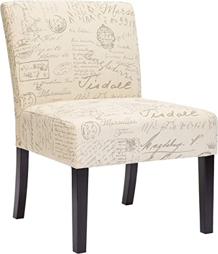 Red Hook Giada Contemporary Upholstered Armless Accent Chair – Script-Style Print