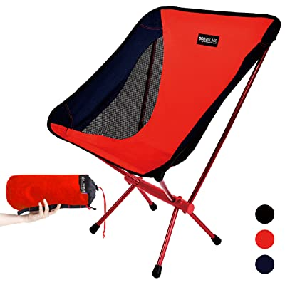 BOBVILLAGE Ultra-Light Folding Camping Chair, Cordura Fabric, Portable Compact Lawn Stool for Beach Travel Hiking Picnic Festival and All Outdoor Activities [Red] : Sports & Outdoors