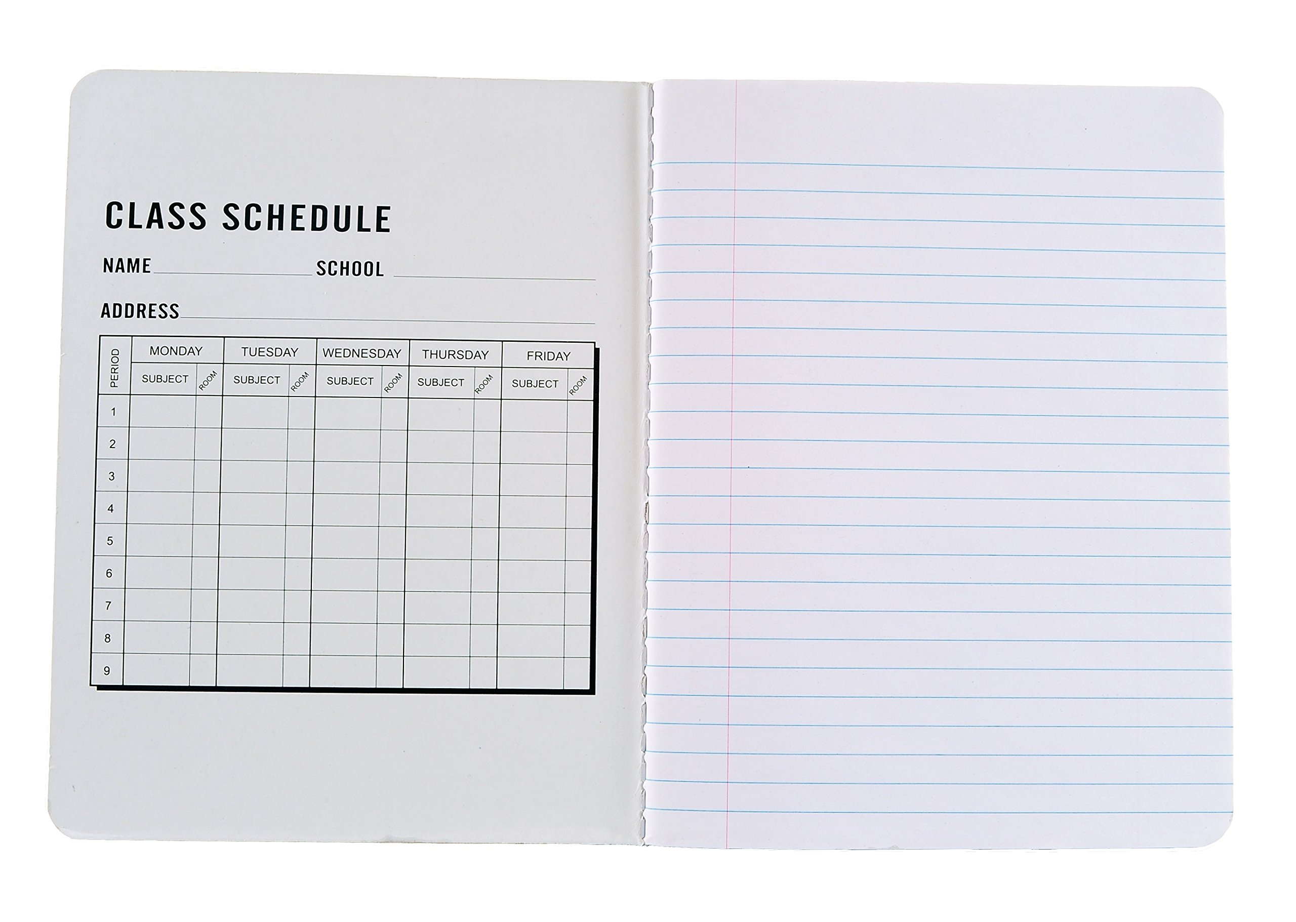 Pack of 6 - Composition Notebooks, 9-3/4'' x 7-1/2'', Wide Ruled, 100 Sheet (200 Pages), Color: Black Marble, Weekly Class Schedule and Multiplication / Conversion Tables on Covers. (6-Pack, Black) by Northland Wholesale (Image #2)