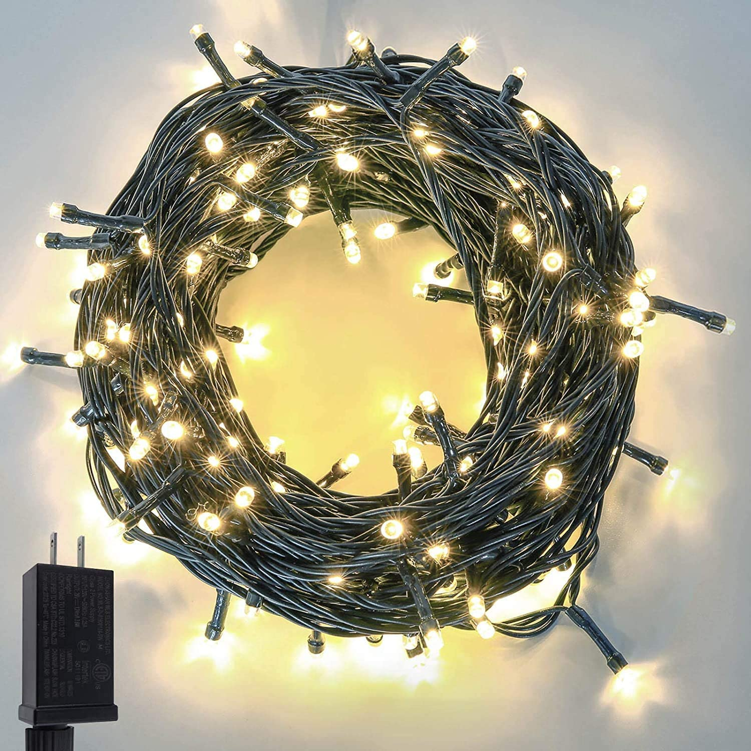 Extra-Long 95FT 240 LED Christmas String Lights Outdoor/Indoor, Ultra-Bright Christmas Tree Lights Waterproof Green Wire 8 Modes Plug in Fairy String Lights for Garden Wedding Party (Warm White)