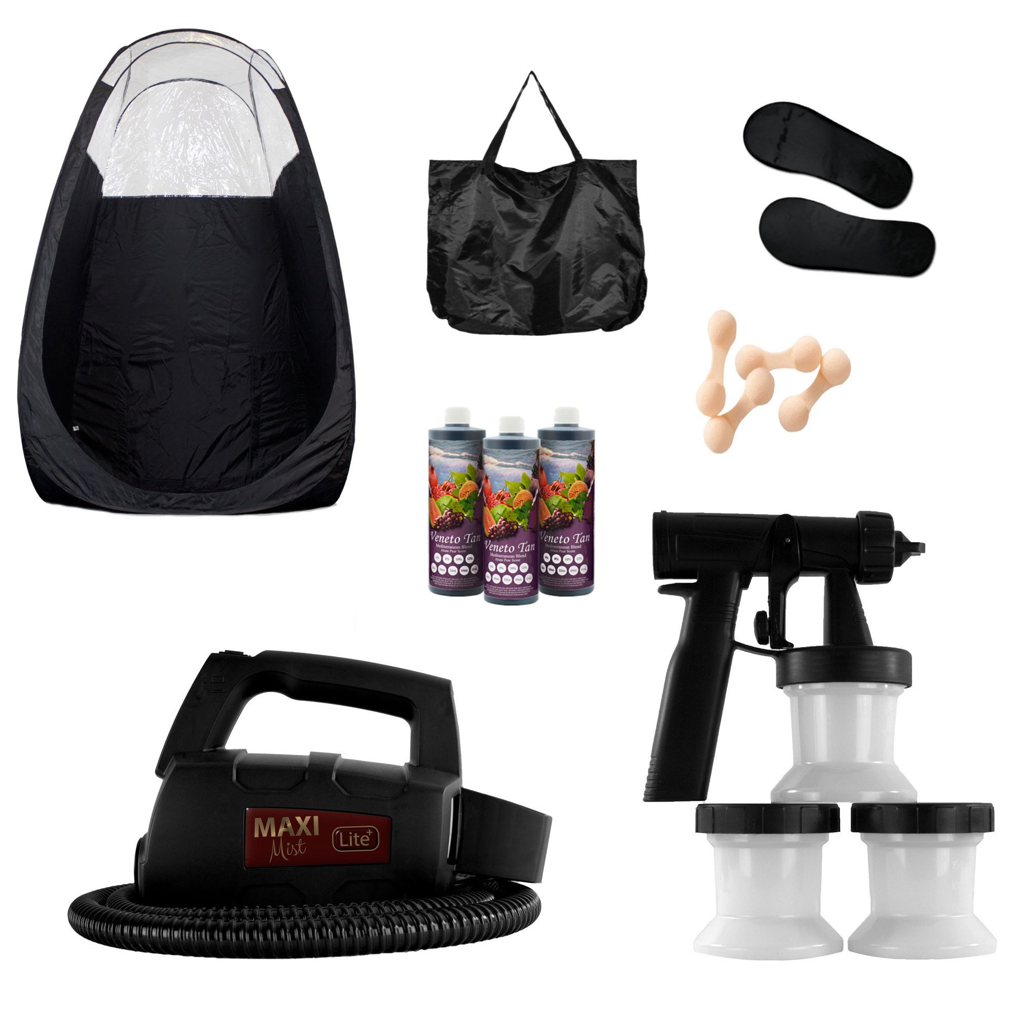 MaxiMist Lite Plus HVLP Sunless Spray Tan KIT w Tent, 25 pr foot protecters, 25 nose filters (Black Tent Black foot sole covers) by MaxiMist (Image #2)