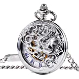TREEWETO 機械式 懐中時計 アンティーク 幸運のドラゴン スケルトン ローマ数字 ダブルハンター チェーン付き