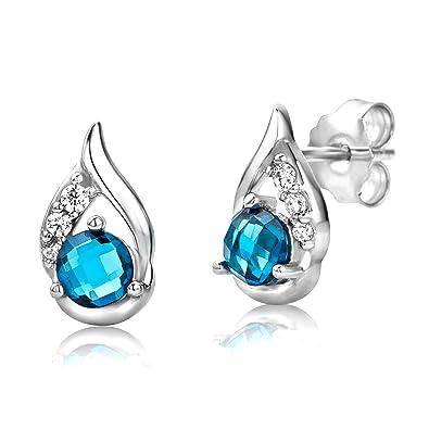 ByJoy Earrings for Women Sterling Silver Studs earrings London Blue Topaz 925 Silver qsHXSV